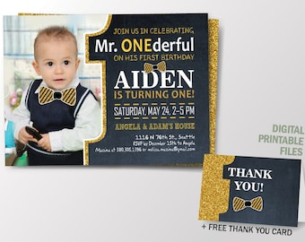 Mr Onederful Invitation, Onederful Birthday, Mr. One-derful Birthday Invitation, Gold and Black First Birthday, Gliters, Printable Inv.