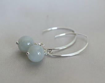 Genuine Jade earrings, Green Jade earrings, Jade jewelry gift for her, Jade gift, green earrings, sterling silver ear wires, mint green jade