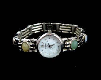 LA Express Vintage Ladies Watch, Semi-Precious Stones Bracelet, Silver Tone Wristwatch