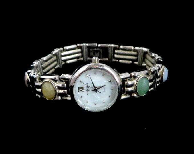 LA Express Vintage Ladies Watch, Semi-Precious Stones Bracelet, Silver Tone Wristwatch