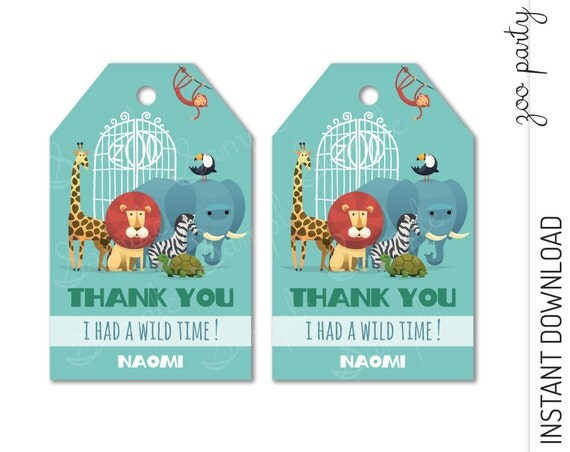Zoo Favor Tag INSTANT DOWNLOAD