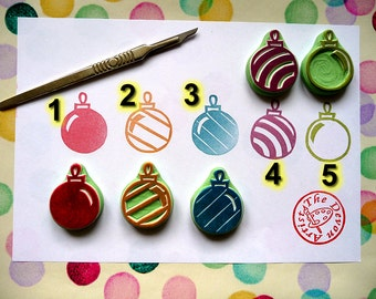 Christmas Bauble Stamp, Christmas rubber stamp, hand carved rubber stamp, Christmas Decorations, decoration stamp, Baubles stamps