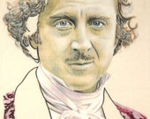Original hand drawn portrait of Gene Wilder as Young Frankenstein, in charcoal and pastel on calico