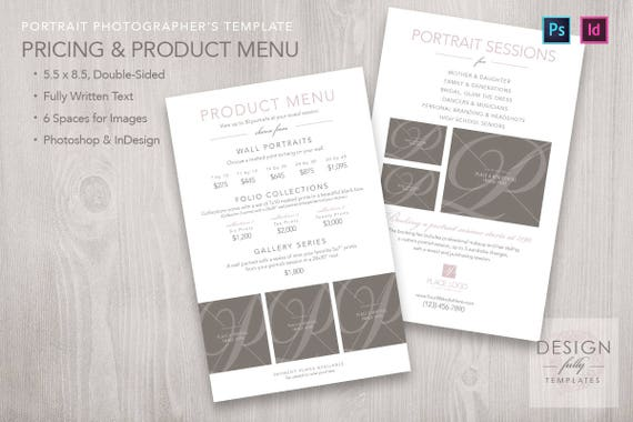Price and Product Menu Template for ID & PSD CS4 CC