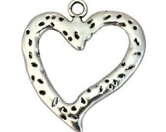 BULK 8 Hammered Silver Open Heart Charm Pendant 47x43mm by TIJC SP1564B