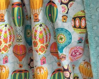 Baby Girl Blanket ~ Cotton & Minky Baby Blanket ~ Toddler Blanket ~ Daycare Blanket ~ Flutter and Flight ~ Hot Air Balloons