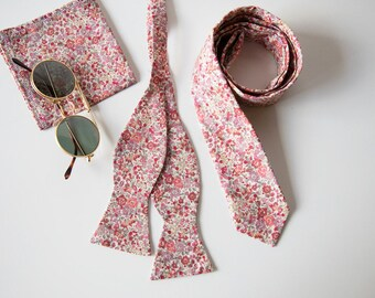 Coral Skinny tie, Liberty of London bow tie, peach ties, bow tie, freestyle bow tie, self tie bow tie, floral bow tie, wedding bow tie
