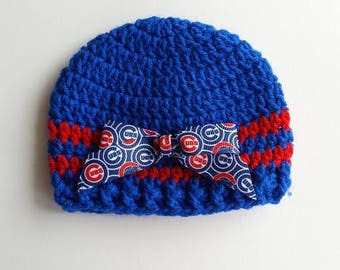 Baby Hat Chicago Cubs Crochet, Newborn or 3-6 months, Handmade