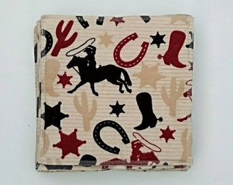 Cowboy Roundup cloth wipes/ washcloths flannel and terry 8x8 10 pack