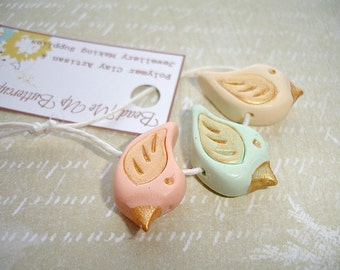 Spring Collection - Cream Mint & Peach Polymer Clay Bird Set