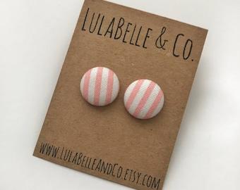 Bubblegum Stripes Button Earring