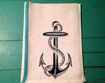 Anchor Kitchen Towel, Tea Towel, Linens, Dish, Bar, Herringbone, Flour Sack, Caribbean Green Stripe, Custom, Whimsical, Vintage Anchor