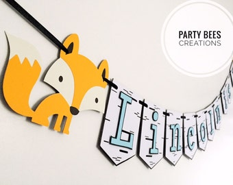 Forest woodland friends animals fox bear and raccoon personalised black and white birch tree look  birthday party banner