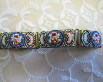 Gorgeous Antique Wide Micro Mosaic Bracelet Made in ITALY