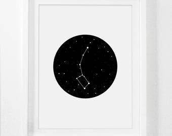 Outer Space Decor, Constellation, Ursa Minor, Outer Space Art Print, Constellation Prints, Space Prints, Little Dipper Poster, Boys Art