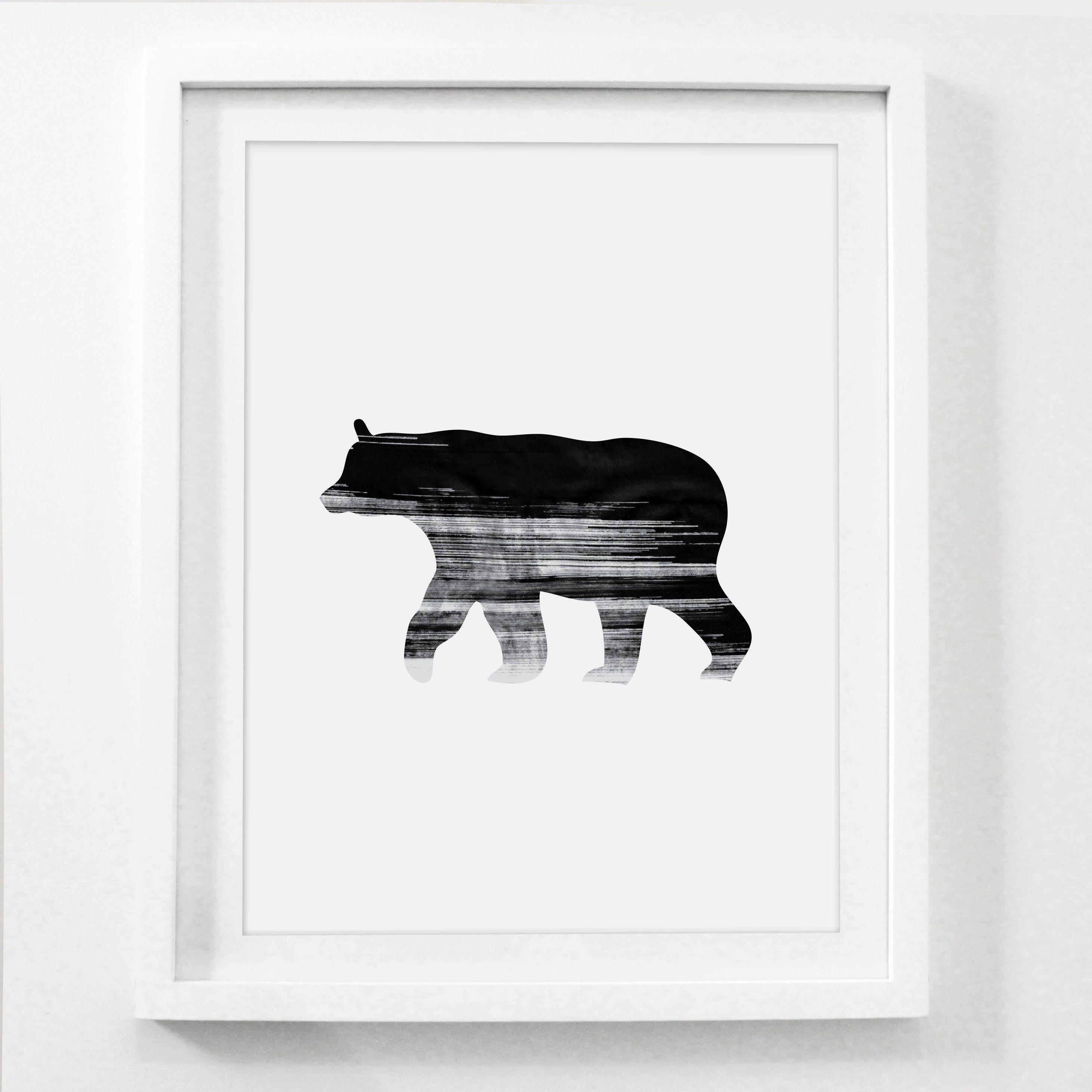 Rustic bear art bear bear art print black bear bear wall zoom amipublicfo Choice Image