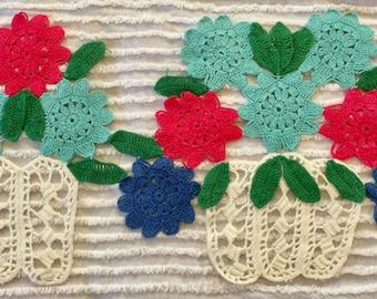 Hand crocheted flower baskets
