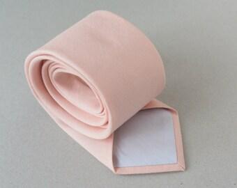 Light Peach  Wedding Neckties - Linen Necktie -  Peach Bowties - Grooms  Necktie - Blush Groomsmen Neckties - Men's Ties
