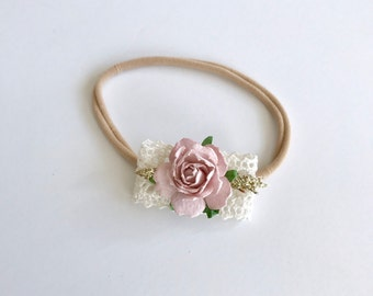 Lace and Mauve Floral Bow