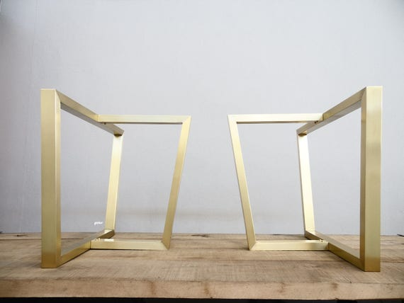 28 X 28 X 16 Trapezoid Table Trestle Brass