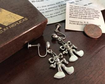 Vintage Silver Etruscan Revival Corsican Gremlin Pixie Screwback Earrings - Alva Museum Replicas - Fairy Faerie Supernatural  Island Corsica
