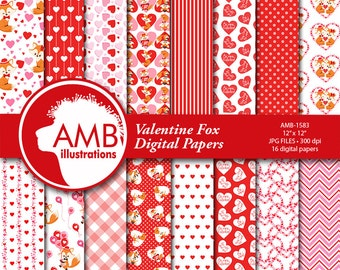 Valentine Digital Papers, Foxes Valentine digital papers, Fox Digital papers, Couple of Foxes, commercial use, AMB-1583