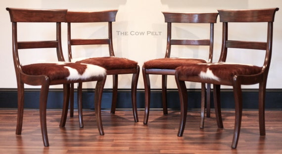 Cowhide Chair Cow Hide Set of Four Chairs English Regency
