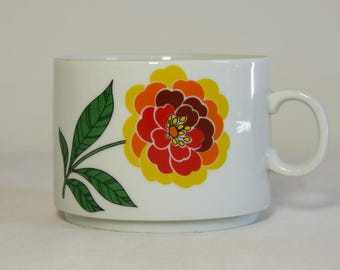 Orange & yellow flower TUSCIA Italy porcelain coffee mug - French 70s vintage