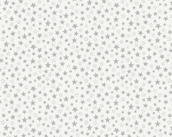 Lewis & Irene Welcome to the World A217.1 Little Grey Stars Patchwork Quilting Dressmaking Fabric