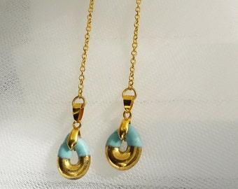 PORCELAIN EARRINGS greek jewelry earring porcelain turquoise dangle & drop earring hanging chandelier cluster earring  22k porcelain jewelry
