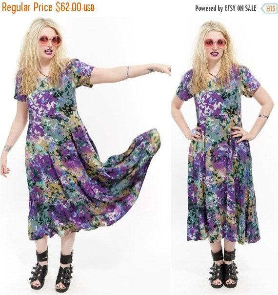 Vtg 90s BATIK Midi SWING Dress Watercolor FLORAL Revival Full Sweep Goddess Grunge Boho Hippie Festival Gypsy Draped Resort Ombre romantic