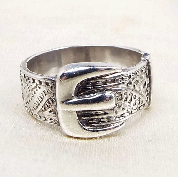 Vintage / Victorian Style Sterling Silver 1977 Belt Buckle Band Ring / Size J