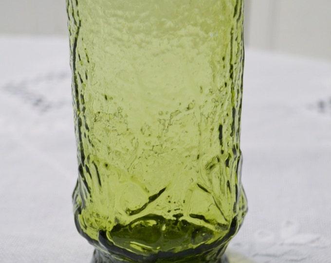 Vintage Rainflower Green Glass Tumbler Anchor Hocking Daisy Flower Power PanchosPorch