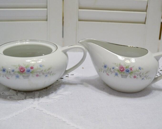 Vintage Florenteen Fantasia Sugar Bowl Creamer Pink Floral Design Japan Panchosporch