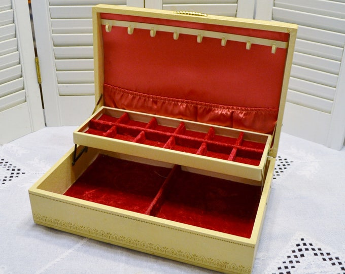 Vintage Jewelry Box Cream with Gold Accents Red Velvet Interior Hollywood Glam PanchosPorch