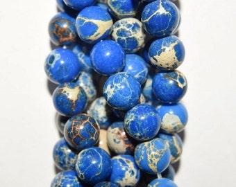 "Sea Sediment Imperial Jasper Beads - Round 6 mm Gemstone Beads - Full Strand 16"", 65 beads, item 1"