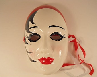 Painted Decorative Porcelain Wall Hanging Mask with Tassels