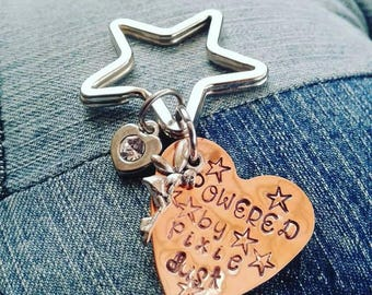 Powered by pixie dust keyring, good luck gift for exams, motivation, inspirational quotes, fairy keyring.