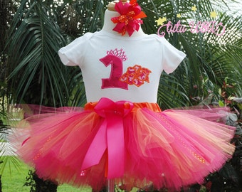 Hawaiian Birthday Outfit.Hawaiian Shirt.Baby Girls 1st Birthday.Hawaiian 1st Birthday Outfit.Pink Tutu Outfit.One Year Old.Personalized