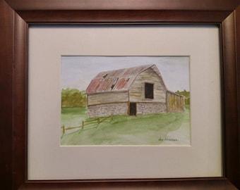 Old barn watercolor