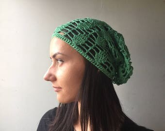 Linen green  Crochet Beanie Chemo Hat  Slouchy Beanie Slouch Hat Crochet Beanie Womens Beanie Hat green Crochet Slouchy Beanie -Beanies