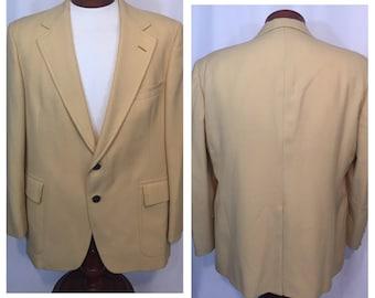 Vintage 46 Regular Large L Hart Shaffner & Marx Sportcoat Jacket Blazer Jack Nicholaus Yellow Gold 2 Buttons Brass 70s Seventies Golf Golfer