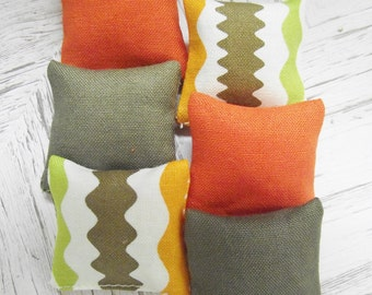 Miniature doll house 12th scale sofa or scatter cushions x  6 modern collection orange and brown
