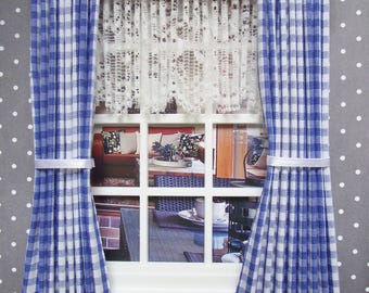 Handmade Miniature dolls house 1:12 scale curtains drapes with dark blue gingham with lace nets