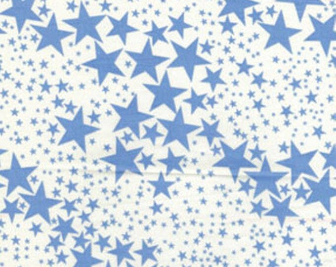 "SUPER CLEARANCE! 32"" REMNANT Cabana - Star is Born in Cream / Blue - Cotton Quilt Fabric - by Kanvas - Benartex Fabrics 5975-05 (W87)"