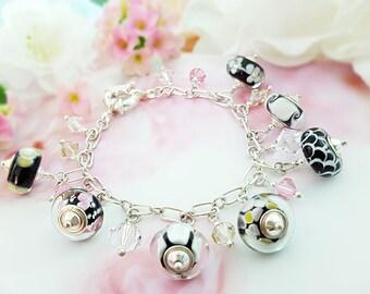 Glass Beaded Silver Bracelet, Pink Black Yellow Baubles, Art Deco Style, Handblown Lampwork Beads, Swarovski Crystals, Modern Dangle, B1033