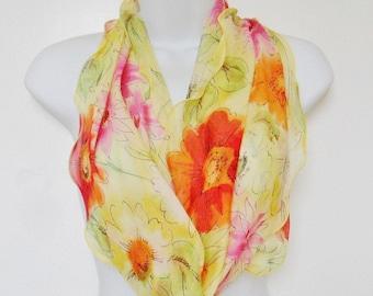 Lemon Yellow Orange Pink Long Scarf Floral Silky Drapey Summer Poppies Fluted Flared Wavy Edge Lightweight Versatile Size & Shape