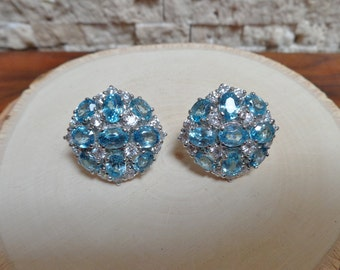 Blue Zircon and CZ posted earring in Sterling Silver