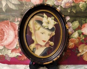 Antique Oval Picture Frame-Old Print of Lady with Hat-Graceful Beauty-Flower-Bow-Red Lips-Shabby Home Decor-Vanity-Orphaned Treasure-013017I