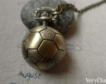 1 PC Antique Bronze Soccer Football Shape Round Pocket Watch A6403